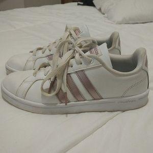 Adidas Advantage White Rose Gold Stripe Sneakers